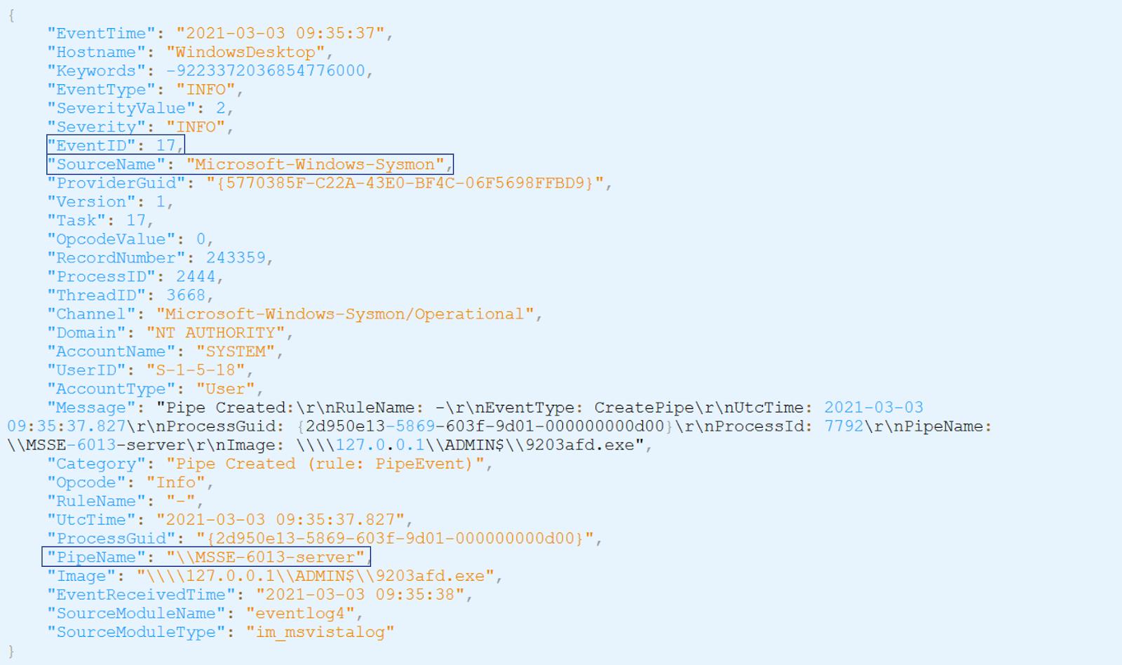 Figure: logs events displayed on SEKOIA.IO