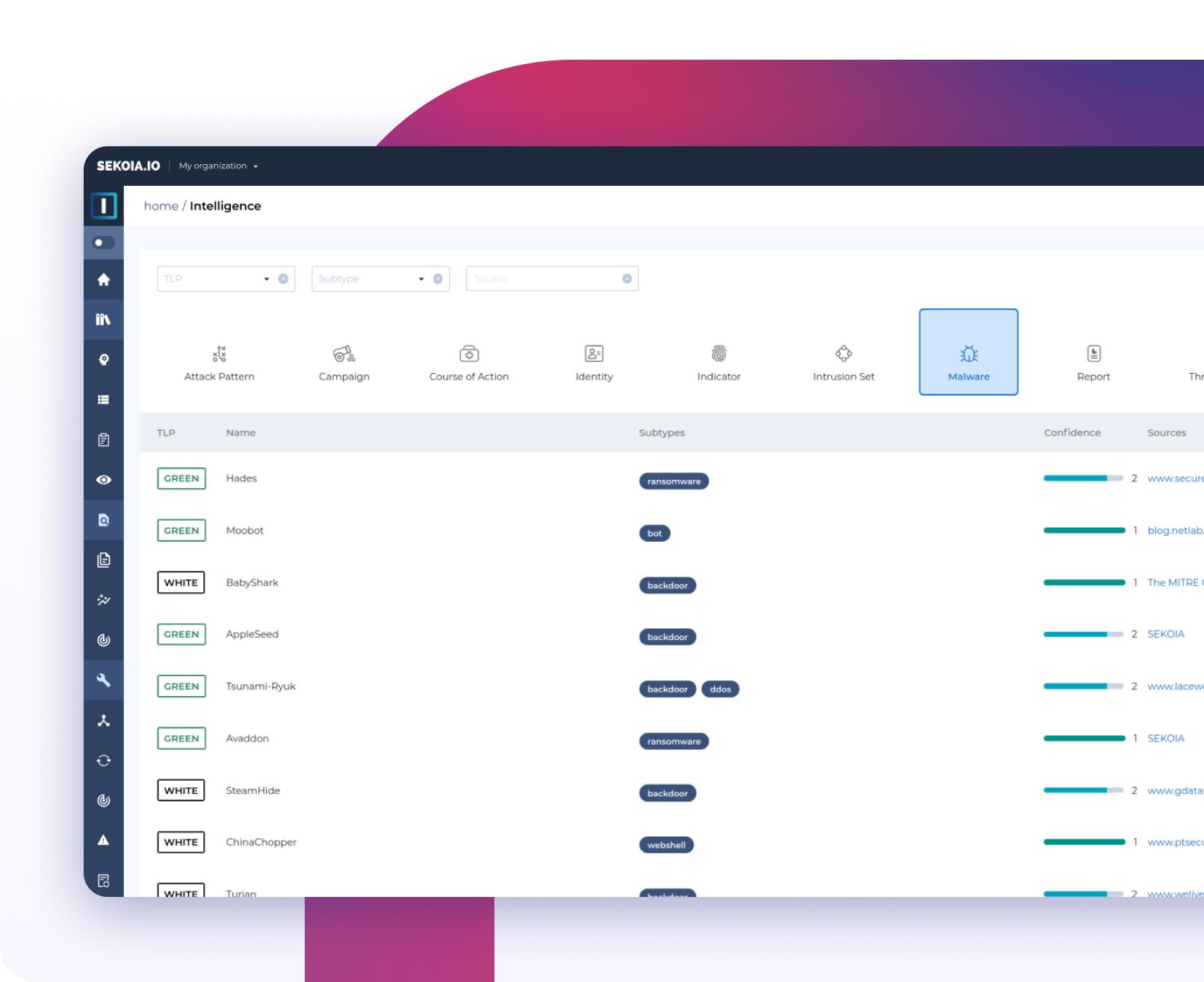 Interface Navigation intuitive dans la base de données SEKOIA.IO CTI